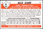 1953 Bowman REPRINT #155  Allie Clark  Back Thumbnail