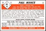 1953 Bowman REPRINT #71  Paul Minner  Back Thumbnail