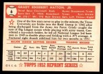 1952 Topps REPRINT #6  Grady Hatton  Back Thumbnail