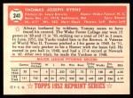 1952 Topps REPRINT #241  Tommy Byrne  Back Thumbnail