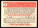 1952 Topps REPRINT #54  Leo Kiely  Back Thumbnail