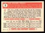 1952 Topps REPRINT #31  Gus Zernial  Back Thumbnail