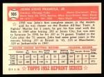 1952 Topps REPRINT #105  Johnny Pramesa  Back Thumbnail