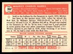 1952 Topps REPRINT #207  Mickey Harris  Back Thumbnail