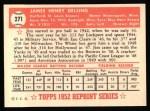 1952 Topps REPRINT #271  Jim Delsing  Back Thumbnail