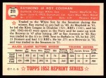 1952 Topps REPRINT #211  Ray Coleman  Back Thumbnail