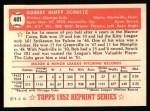 1952 Topps REPRINT #401  Bob Schultz  Back Thumbnail