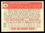 1952 Topps REPRINT #180  Charlie Maxwell  Back Thumbnail