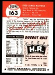 1953 Topps Archives #163  Fred Hatfield  Back Thumbnail