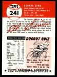 1953 Topps Archives #241  Al Sima  Back Thumbnail