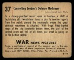 1939 Gum Inc. War News Pictures #37   Controlling London's Defense Machinery Back Thumbnail