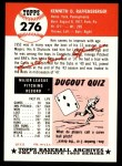 1953 Topps Archives #276  Ken Raffensberger  Back Thumbnail