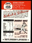 1953 Topps Archives #125  Dick Williams  Back Thumbnail