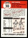 1953 Topps Archives #20  Hank Thompson  Back Thumbnail