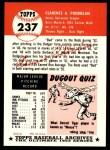 1953 Topps Archives #237  Bud Podbielan  Back Thumbnail