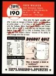1953 Topps Archives #190  Dixie Walker  Back Thumbnail