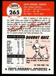 1953 Topps Archives #265  Jackie Jensen  Back Thumbnail