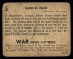 1939 Gum Inc. War News Pictures #5   German Air Student Back Thumbnail
