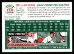 1954 Topps Archives #118  Carl Scheib  Back Thumbnail