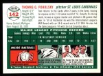 1954 Topps Archives #142  Tom Poholsky  Back Thumbnail