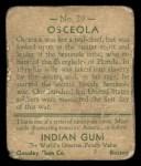 1933 Goudey Indian Gum #29  Osceola   Back Thumbnail