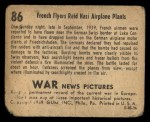 1939 Gum Inc. War News Pictures #86   French Flyers Raid Nazi Airplane Plants Back Thumbnail