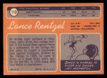 1970 Topps #113 RED Lance Rentzel  Back Thumbnail