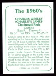 1978 TCMA The Stars of the 1960s #292  Charlie James  Back Thumbnail