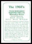 1978 TCMA The Stars of the 1960s #31  Felix Millan  Back Thumbnail