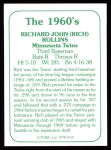 1978 TCMA The Stars of the 1960s #119  Rich Rollins  Back Thumbnail