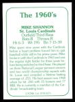 1978 TCMA The Stars of the 1960s #275  Mike Shannon  Back Thumbnail