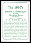 1978 TCMA The Stars of the 1960s #191  Ty Cline  Back Thumbnail
