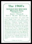 1978 TCMA The Stars of the 1960s #54  Don Mincher  Back Thumbnail