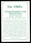 1978 TCMA The Stars of the 1960s #174  Cesar Tovar  Back Thumbnail