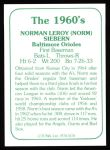 1978 TCMA The Stars of the 1960s #178  Norm Siebern  Back Thumbnail
