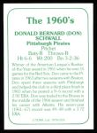 1978 TCMA The Stars of the 1960s #118  Don Schwall  Back Thumbnail