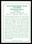 1978 TCMA The Stars of the 1960s #26  Bob Allison  Back Thumbnail