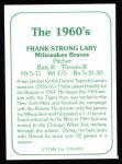 1978 TCMA The Stars of the 1960s #253  Frank Lary  Back Thumbnail