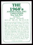 1978 TCMA The 1960's #7  Joe Christopher  Back Thumbnail