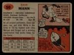 1957 Topps #50  Dave Mann  Back Thumbnail