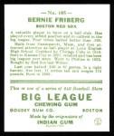 1933 Goudey Reprint #105  Barney Friberg  Back Thumbnail