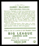 1933 Goudey Reprint #170  Harry McCurdy  Back Thumbnail