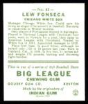 1933 Goudey Reprint #43  Lew Fonseca  Back Thumbnail