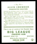 1933 Goudey Reprint #95  Alvin Crowder  Back Thumbnail
