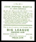 1933 Goudey Reprint #62  Pepper Martin  Back Thumbnail