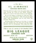 1933 Goudey Reprint #35  Al Simmons  Back Thumbnail
