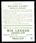 1933 Goudey Reprint #17  Watson Clark  Back Thumbnail