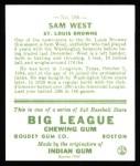 1933 Goudey Reprint #166  Sammy West  Back Thumbnail