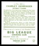1933 Goudey Reprint #222  Charlie Gehringer  Back Thumbnail