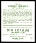1933 Goudey Reprint #68  Horace Lisenbee  Back Thumbnail